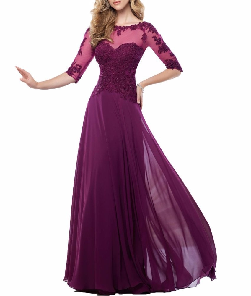 Chiffon-Navy-Blue-Dark-Red-Champagne-Mother-of-the-Bride-Dresses-2016-Three-Quarter-Sleeves-Long (1)