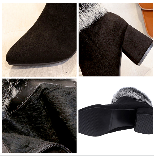 Women Boots Fashion Casual Ladies Shoes Winter Furry Rabbit Hair Faux Suede Boots High Heeled Female Ankle Boots