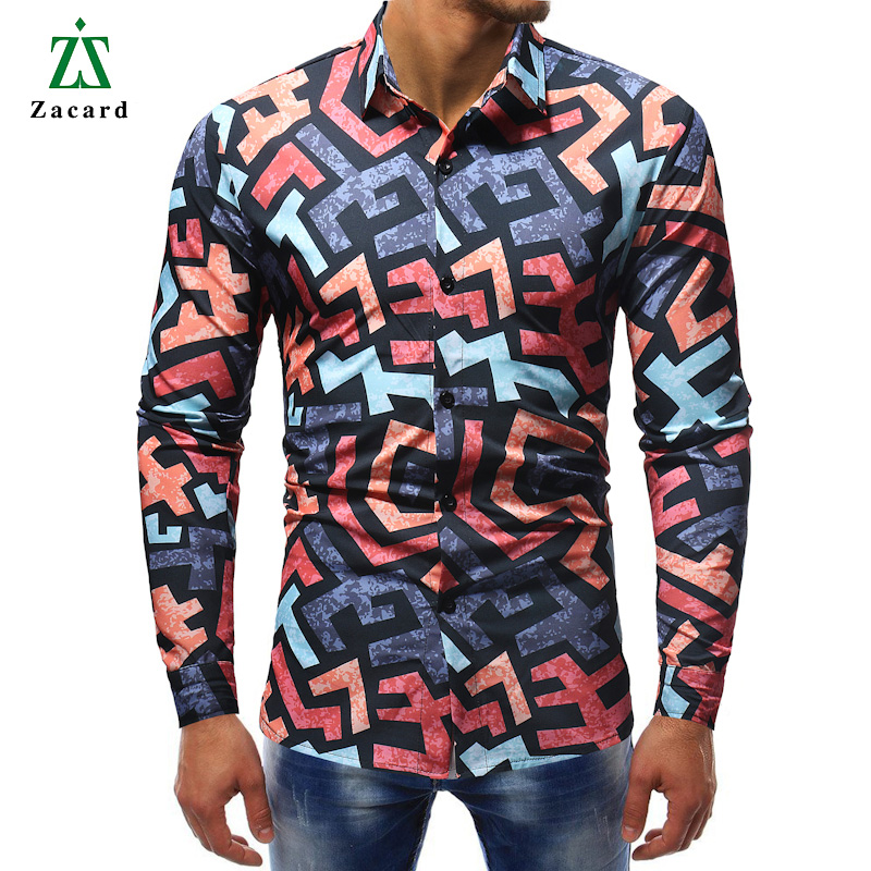AUTUMN in New Fashion Fiore Stampato Manica Lunga Camicie Uomo Camisa MASCHIO SLIM