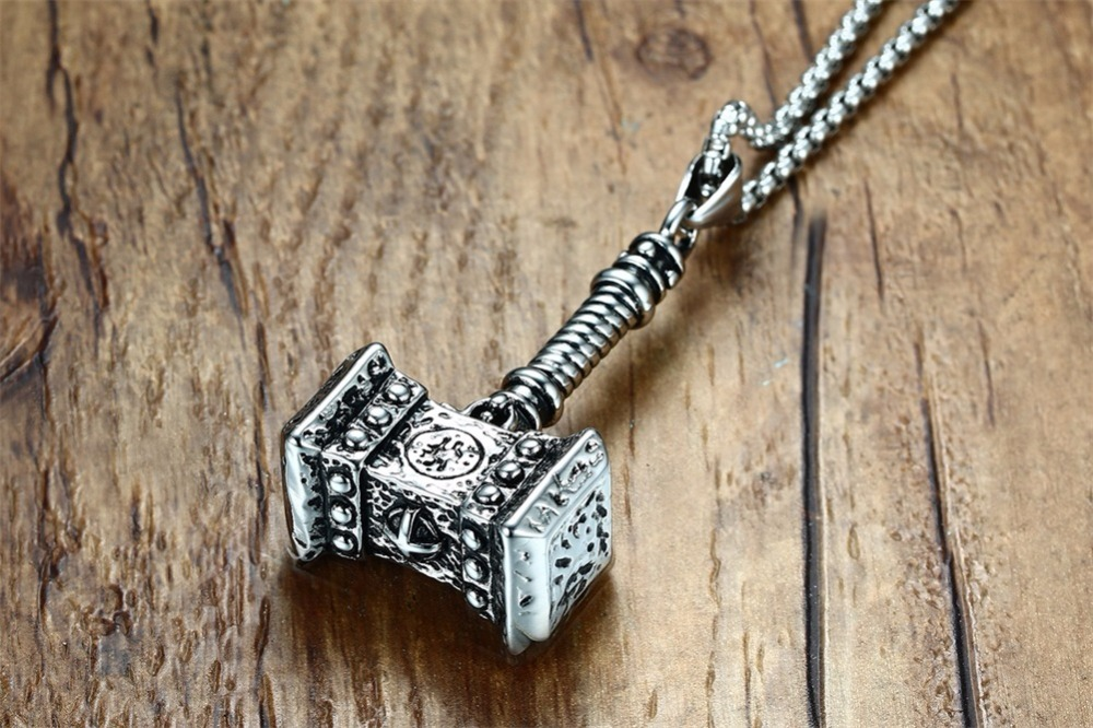 Mens Solid Viking Thors Hammer Pendant Necklace Stainless Steel Vintage Mjolnir Norse Jewelry collares collier colar kolye collane choker 15