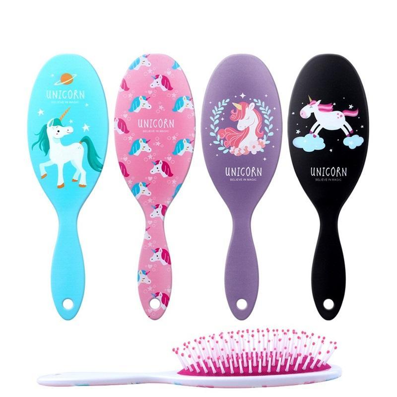 Unicorn karikatür plastik Masaj Tarak Anti Statik Kafa Derisi Saç Kürek Fırça Detangle Duş Saç Fırçası Kuaförlük Aracı FFA987 30 adet