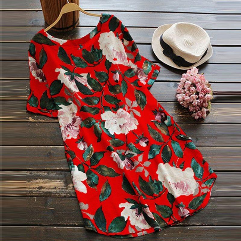 ZANZEA 2018 여성 레트로 꽃 프린트 여름 드레스 반소매 로브 Femme Casual Roupas 비치 파티 Vestido Clothes Plus Szize C18111301