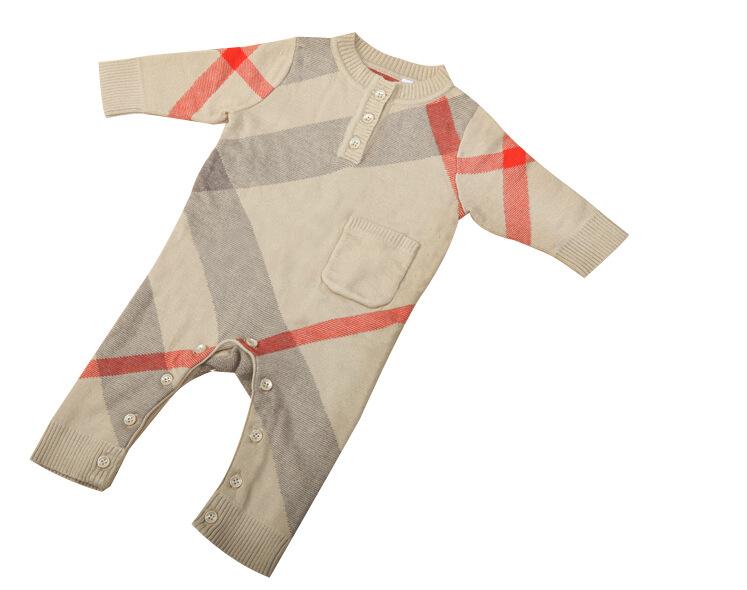 New Autumn Newborn fall baby kids Romper sweater Plaid Knit Jumpsuit high quality cotton long sleeve Bodysuit Onesie +hat 0-2T Y448