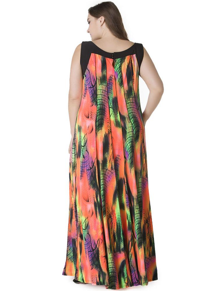 6XL 7XL Plus Size Dress Women Bohemian Long Dress Sleeveless Print Casual Loose Pleated Maxi Dress Colorful Sundress Female