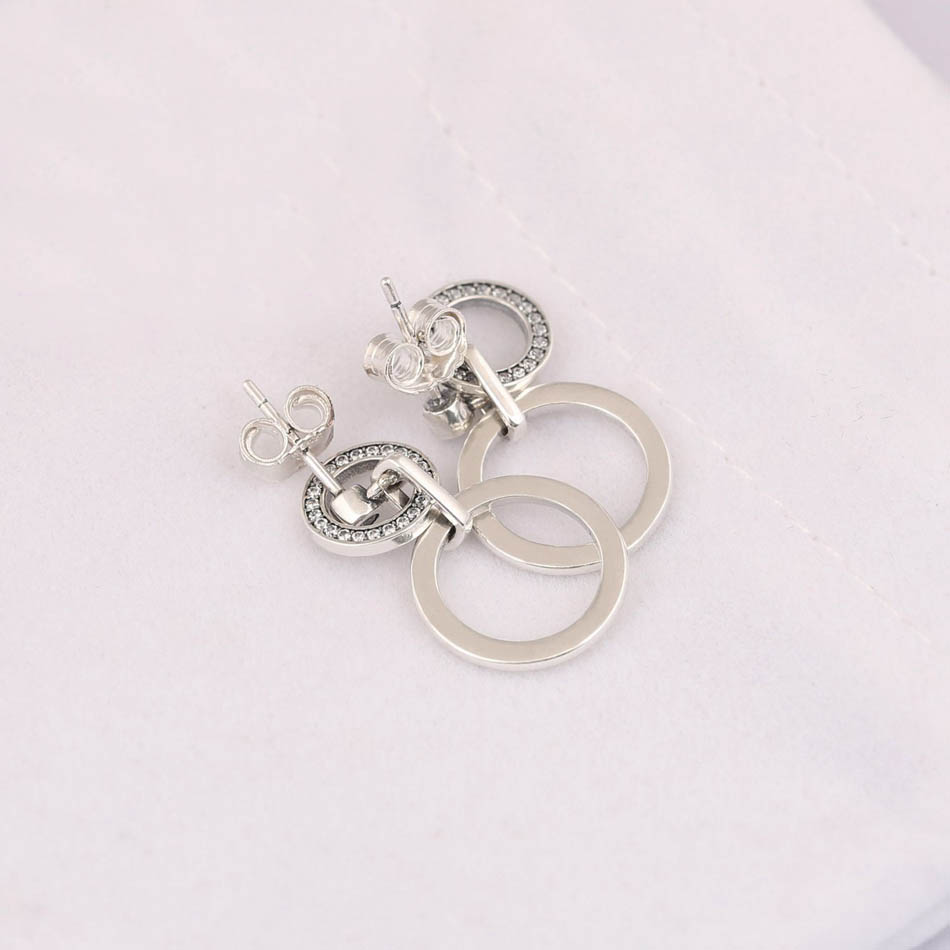 Authentic 925 Sterling Silver Earring for Women Circles Dangle Drop Earrings Clear CZ Crystal Wedding Gift fit Pandora Jewelry