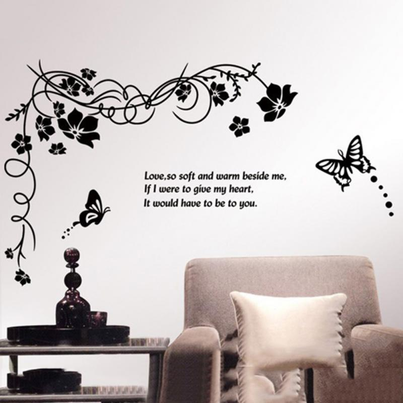 Removable Large Black Butterfly Flowers Wall Stickers Vine Tiny Art Wall Decorative Decals for Bedroom Home Decoration
