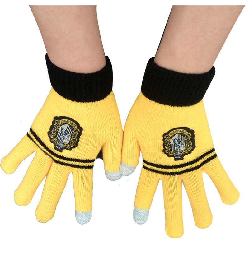Harry Potter Touch Screen Gloves With Tags Ravenclaw Gryffindor Slytherin Hufflepuff Knitted Striped Finger Gloves Christmas Cosplay Gifts
