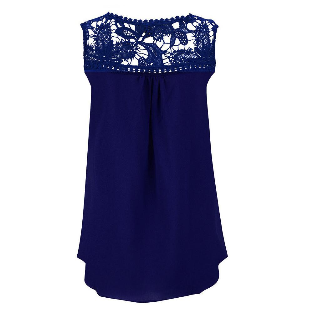 Women Summer Lace Splice Chiffon Vest Top Sleeveless Blouse Tank Tops ropa camisas blusas mujer de moda plus size women clothing
