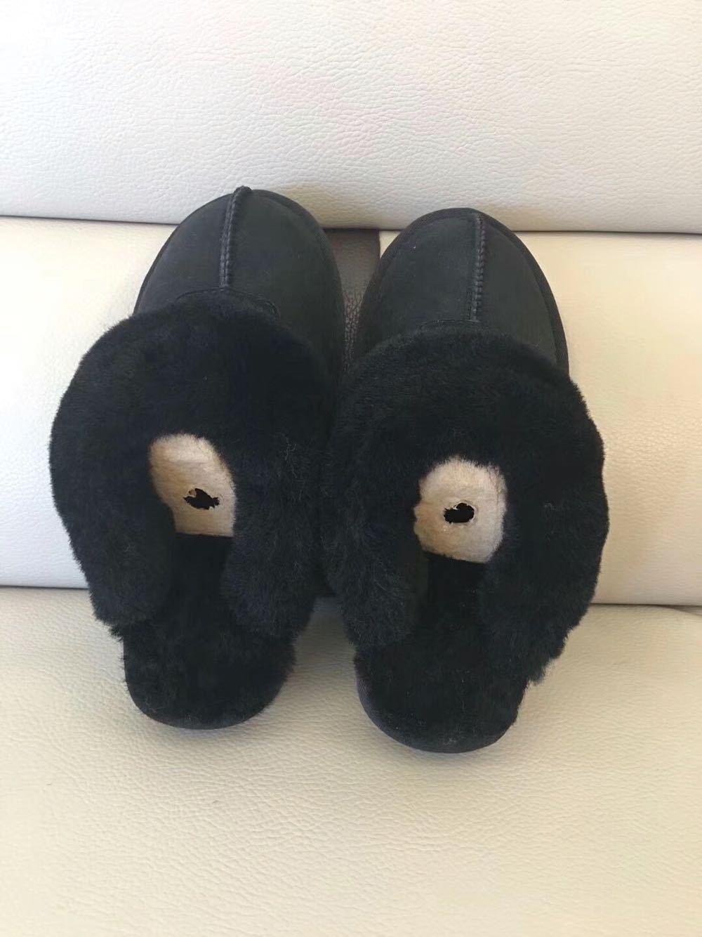 Designer Winter Fur Slipper Men Women UG Suede Sandals Fleece Short Boots Plus Big Kids Teenager Leather Snow Boots Indoor Outdoor Shoes