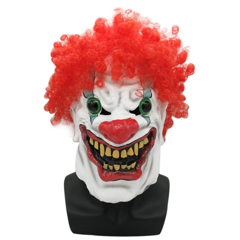 1pc Latex Halloween Mask Big Mouth Clown Dress Up Costumes Clown Red Nose Full Cosplay Horror Adult Masquerade Party Ghost