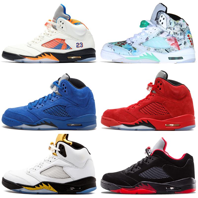 Pas cher Nouveau 5 5s Wings International Flight Hommes Basketball Chaussures Rouge Bleu Daim Bas Neymar Chine hommes Sport Sneakers Designer
