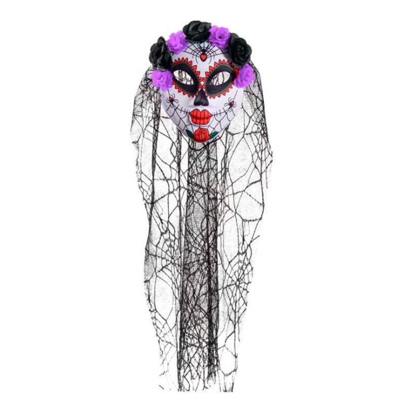 Horror Head Veil Flower Clown Mask Women Girls Ghost Bride Masks Hallowmas Masquerade Party Dress Halloween Christmas