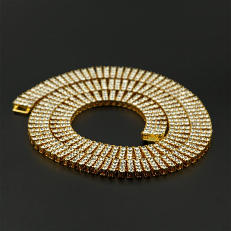 New Fashion Luxury Men Hip Hop Necklaces Top Quality 18k Gold Plated Quad Line Rhinestone Chains Brand Design Hip-Hop Jewelry Link Chain