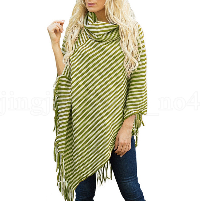 Striped Tassel Cloak Casual Stripes Women Tassel Shawl Sweater High Neck Sweater Batwing Sleeve Girls Scarf Cape OOA5759