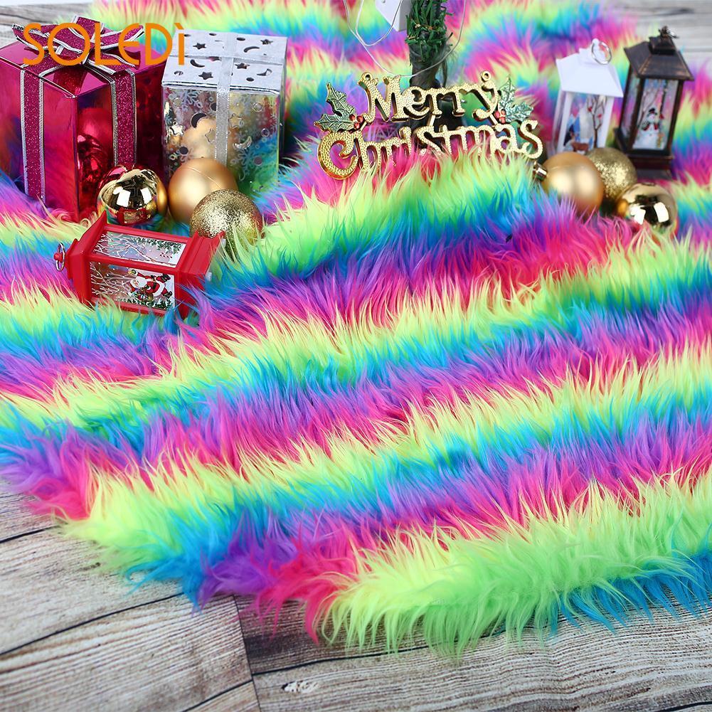 Christmas Tree Skirt Christmas Tree Stand Christmas Tree Dress Beautiful High-Grade 90cm Long Plush Colorful Floor Mat