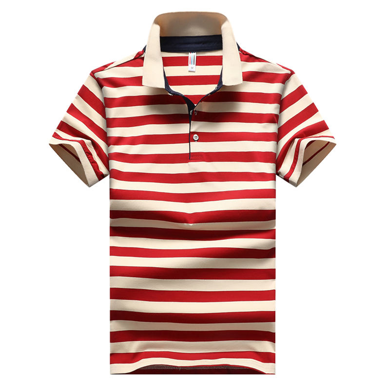 2018 Summer Mens Polo Shirt Classic Striped Cotton Short Male Polo Men Tees Breathable Quick Dry Plus Size 4XL Red Muls Brand-02
