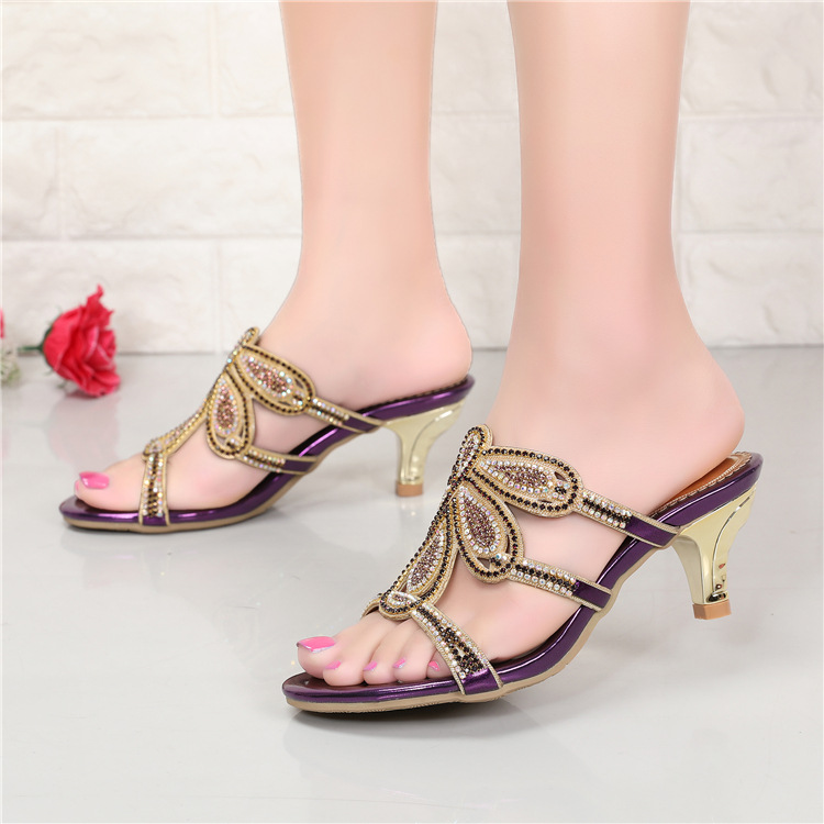 New Luxury Diamond Stiletto High Heels Slippers Online Shopping Peep Toe Womens Shoes Sale High Quality Gold Purple Black Red6