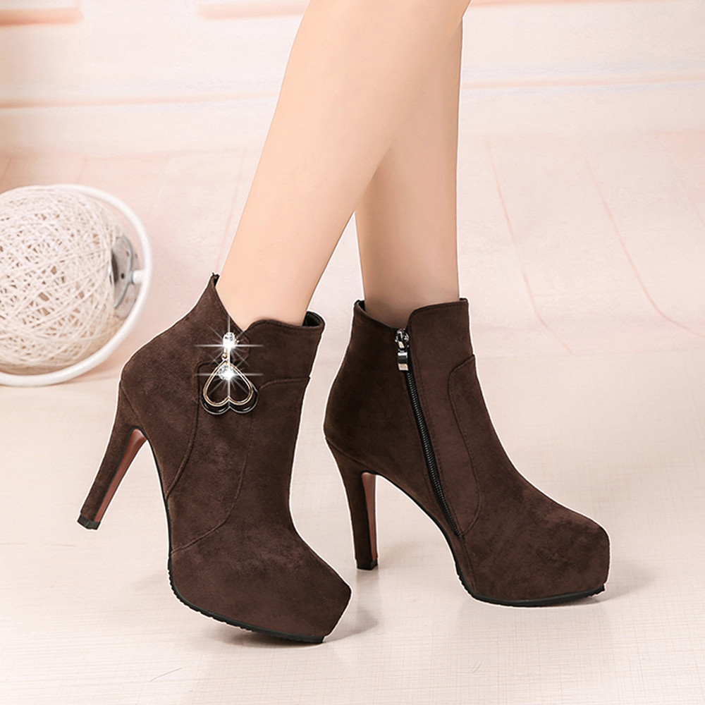 Fashion shoes woman winter boots Ponited Toe Shoes Suede Pure Color Martin Boots Zipper Hight Heel Shoes #20181024