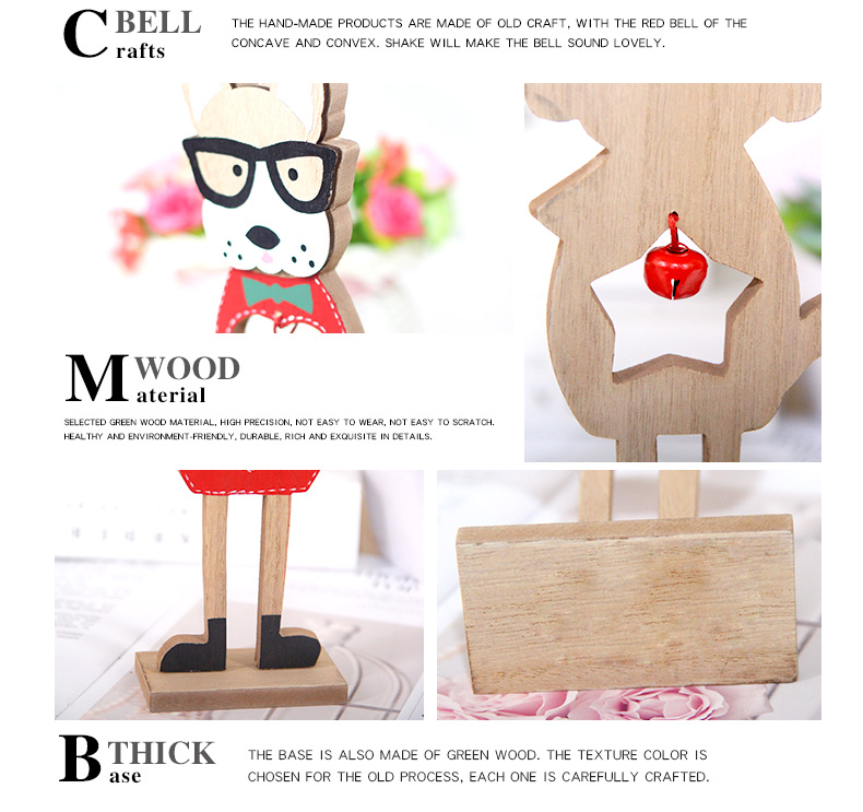 06 2019 Merry Christmas Wooden dog Ornaments Room Wall Hanging Accessories For Home Table Desktop Stand Decor Santa Bells Dog Gifts