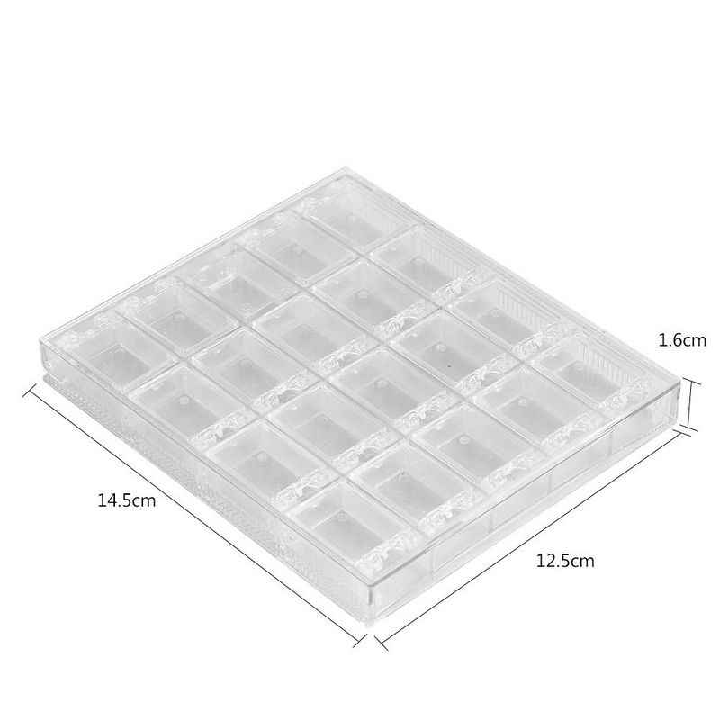 Shellhard 1pc Clear Empty 20 Grids Nail Art Storage Box Plastic Storage Case Nail Art Rhinestone Tools Jewelry Beads Gems
