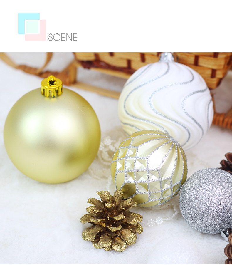 06 inhoo 50pcsset White gold balls Christmas Tree Decoration Ball Ornaments Pendant Accessories Decor For Christmas Home Party