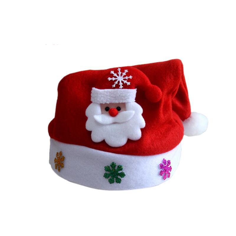 6 Unids / lote Decoraciones de Navidad Sombrero de Navidad Rojo Santa Claus Muñeco de nieve Sombrero de Navidad para niños