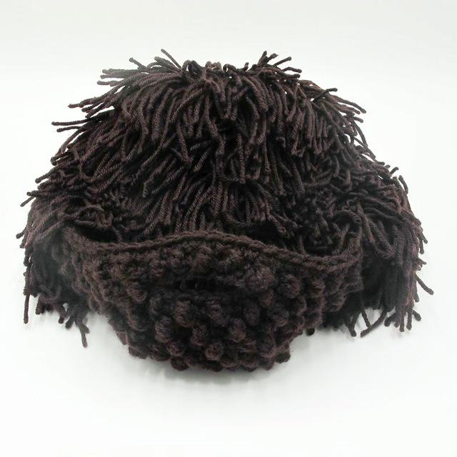 Gorro de peluche de ganchillo adulto con barba Salvaje Sombrero de peluche de punto creativo para sombrero de cosplay artesanal de invierno