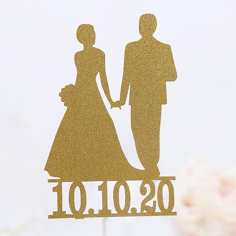 Kek Topper Gelin Damat Düğün Cupcakes bayraklar Için Dekor Mariage Mr Mrs Kek Toppers Gelin Duş Parti tarihini Özelleştirmek