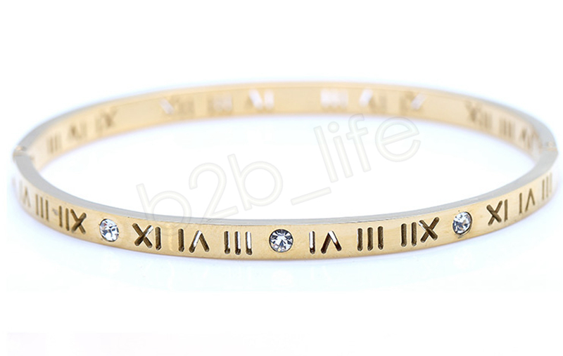 Roman Numerals Bracelet Titanium Steel Rose Gold Silver Bangle Open Hollow with six diamond bracelet Jewelry Party Favor GGA979