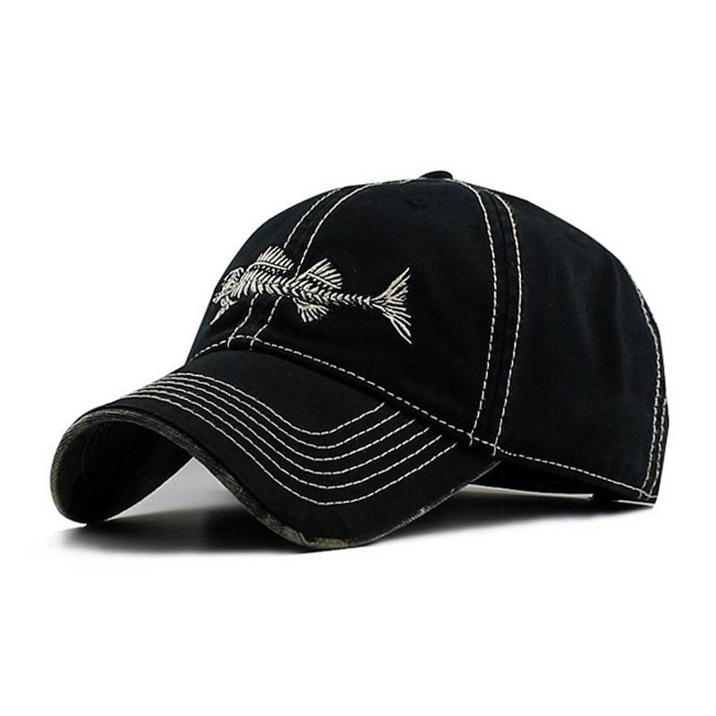 Embroidery Fish Bone Baseball Cap, Women Men Fashion Sewing Breathable Snapback Hat Hip Hop Visor Casquette Casual Snapback Caps D18110601