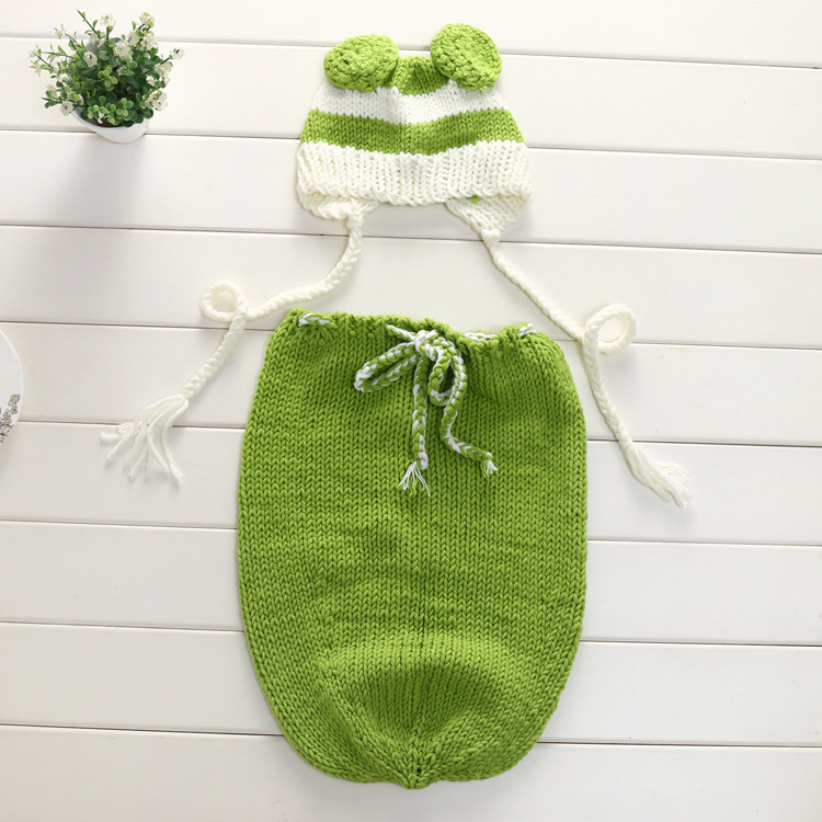 Newborn Baby Photography Props Hat Infant Knit Crochet Costume Soft Outfits Baby Wear Sleeping Bags