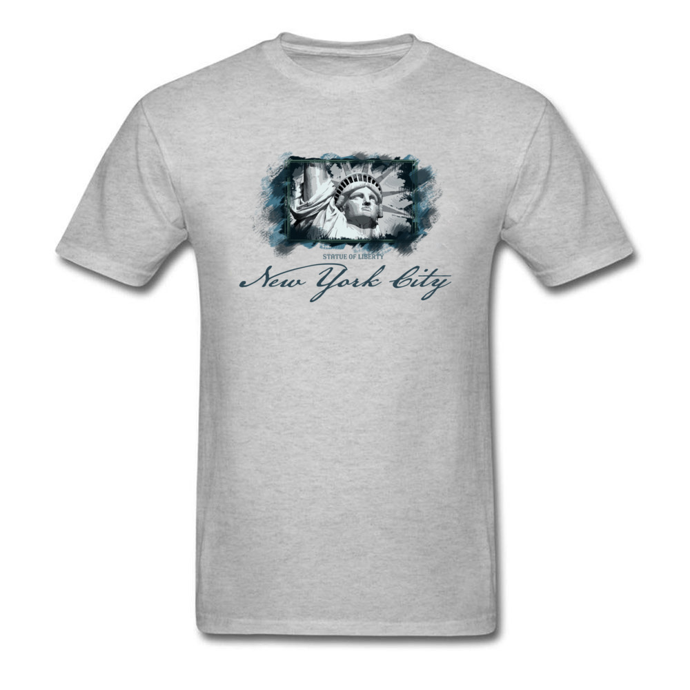 Tops Shirts Birthday Top T-shirts Summer Autumn 2018 New Fashion Group Short Sleeve 100% Cotton O Neck Men T Shirts Group New York City Statue of Liberty grey
