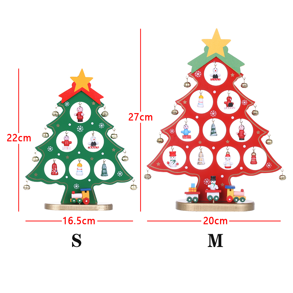 1Set Wooden Christmas Tree Decor Desk Table Party Home Ornament DIY Xmas Gift Fashion Event & Party Supplies