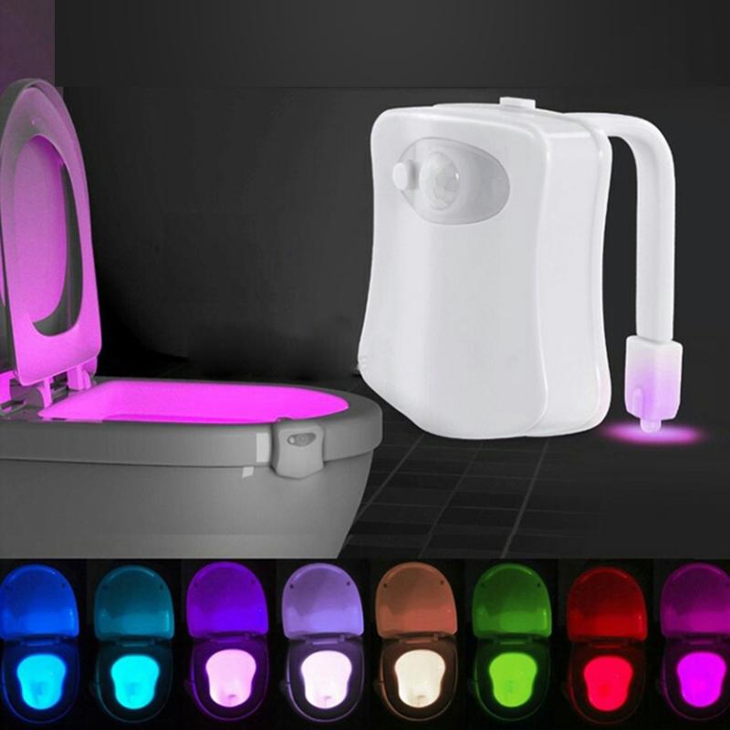 Bathroom Night Light Human Motion Activated Seat Sensor Lamp Random Discoloration LED Toilet Lights