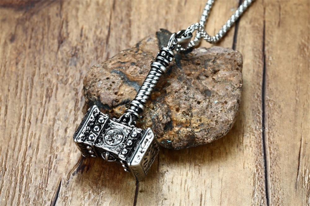 Mens Solid Viking Thors Hammer Pendant Necklace Stainless Steel Vintage Mjolnir Norse Jewelry collares collier colar kolye collane choker 18