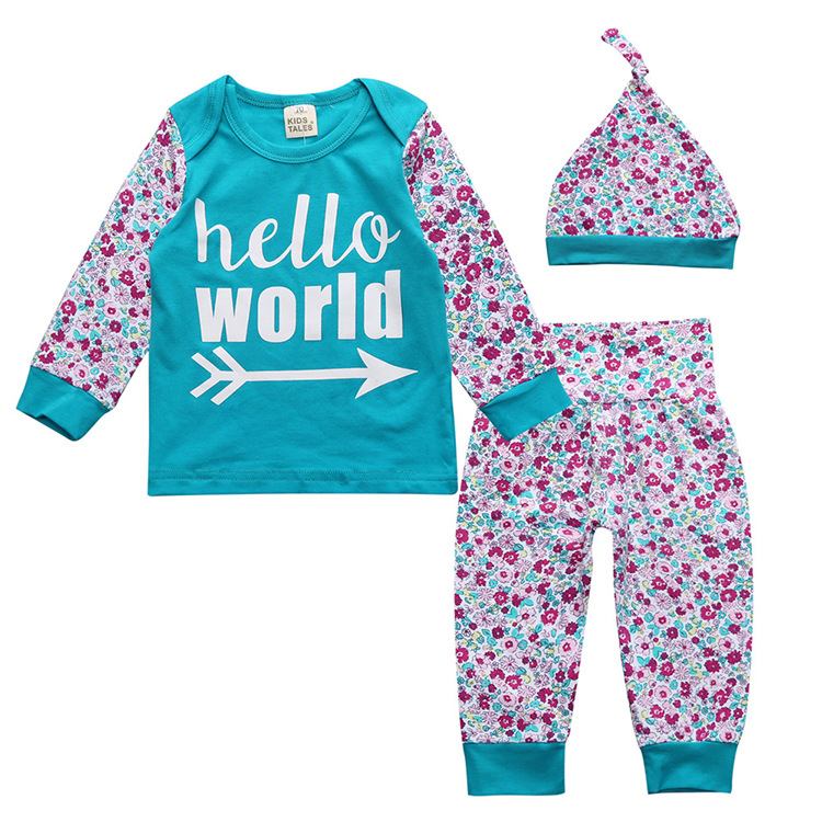 Floral Baby Girls Clothes green T-shirt Long Sleeve Coat Tops + Floral Pants Clothes hat Suit Set
