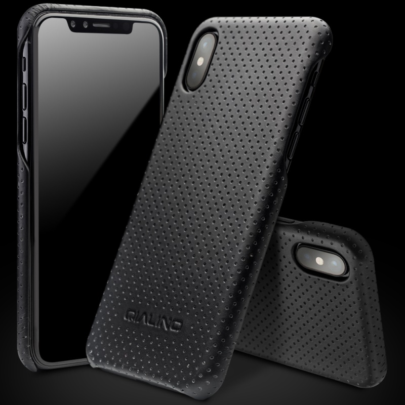 wholesale Bag for iPhone X Mesh Holes Genuine Leather Coated PC Hard Case for iPhone X/10 5.8 inch Black
