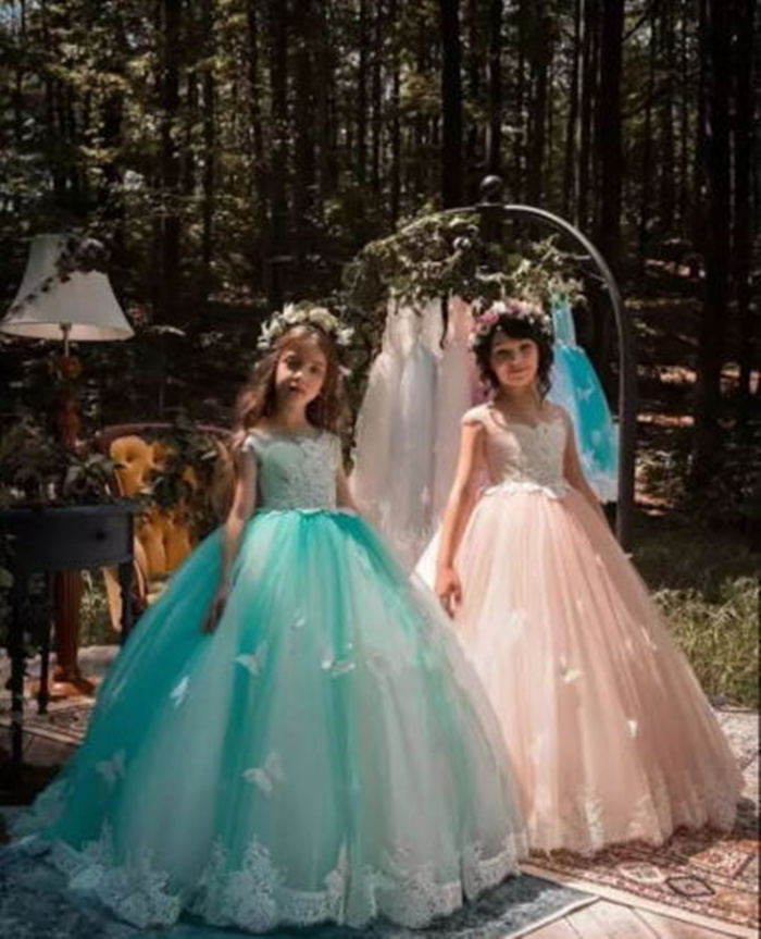 Girls Fashion Kids Gown Flower Girl Dresses with Bows For Wedding TUTU Girl's Floor Length Child Party Birthday Dress 17flgB452