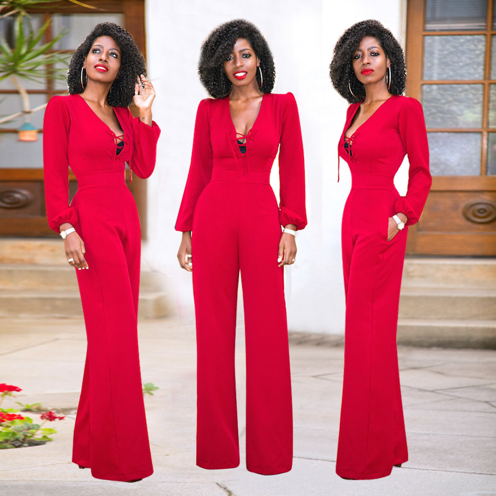 top-rated discount classcic deft design 2019 Lace Up Wide Leg Jumpsuit Women Long Sleeve Loose Red One Piece  Overalls Elegant Formal Jumpsuits Long Pants Romper 2017 Outfits From  Wangleme0, ...