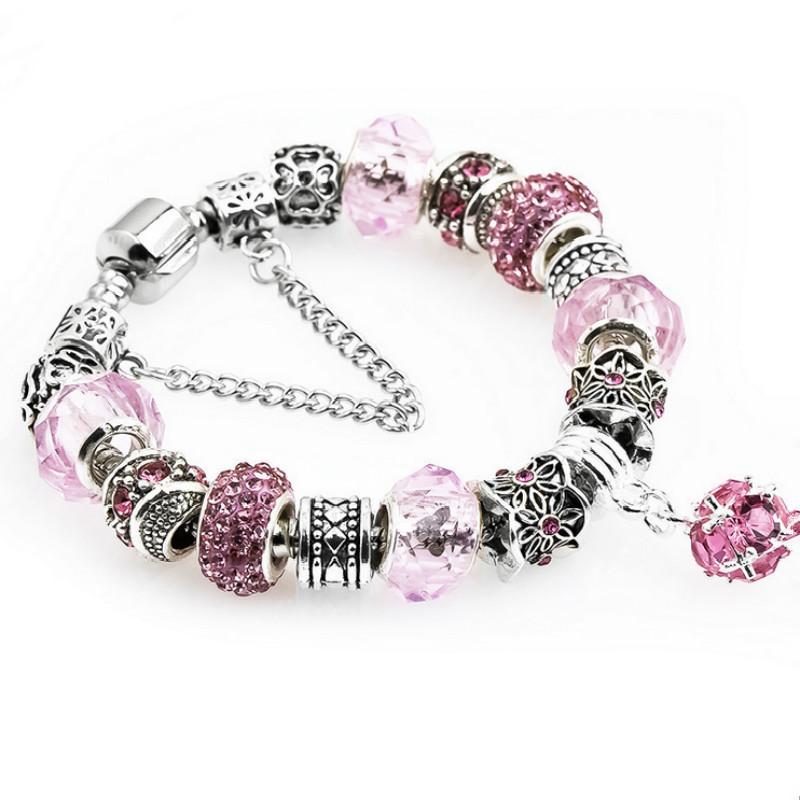 Zircon 18 19 20 21CM Charm Bracelet 925 Silver Pandora Bracelets For Women Royal Crown Bracelet Purple Crystal Beads DIY Jewelry