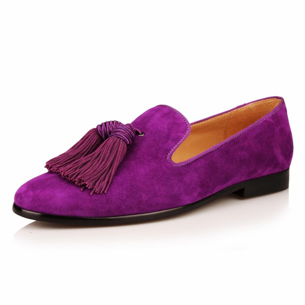Delicato Colore Viola Pallido scarpe fatte a mano da uomo mocassini in pelle scamosciata viola mocassini  da uomo pantofole con nappe scarpe da sposa abiti casual appartamenti in