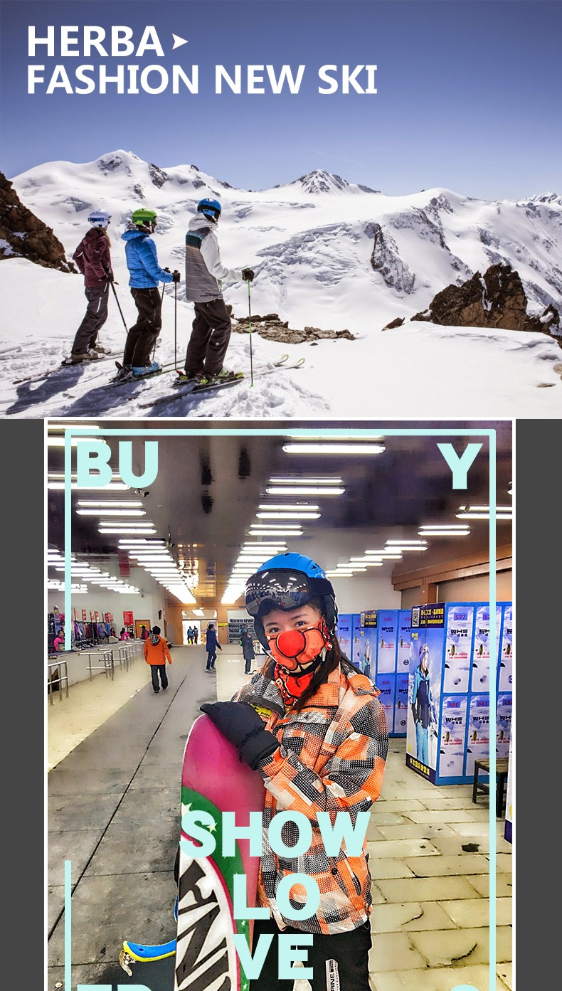 b2098fc3de4 2019 New HERBA Brand Ski Goggles Ski Goggles Double Lens UV400 Anti ...