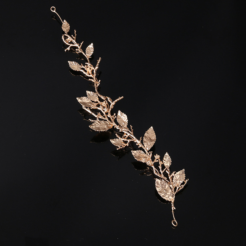 Handmade Vintage Baroque Hair Jewelry Metal Rose Gold Leaf Bride Hair Band Branch Wedding Headpieces Plant Bridal Hair Pieces S919