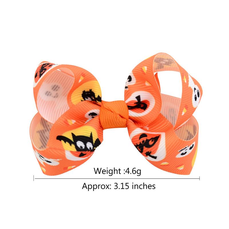 Baby Halloween Grosgrain Ribbon Bows with Clip Cartoon Kids Ghost Pumpkin Baby Girl Bowknot Hair Clips Hair Pin Accessories 3 inch DHL