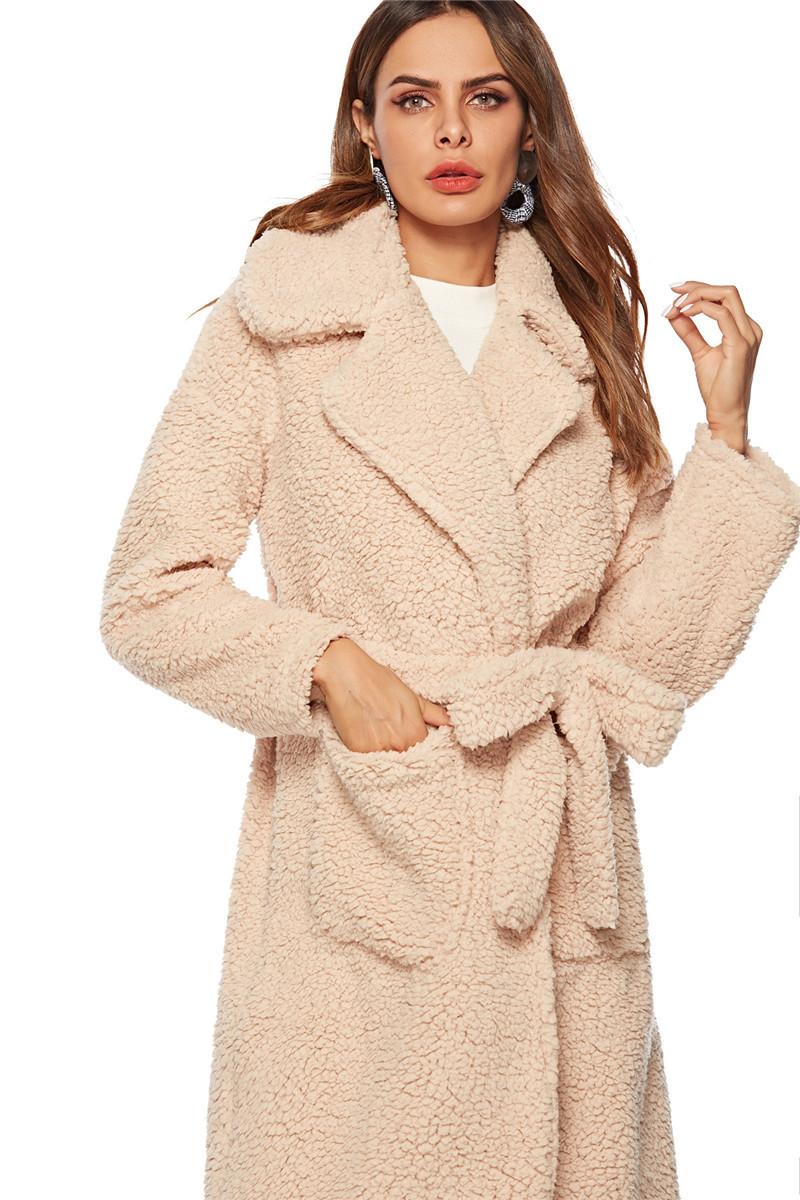 faux lambswool women long section coat outerwear-7