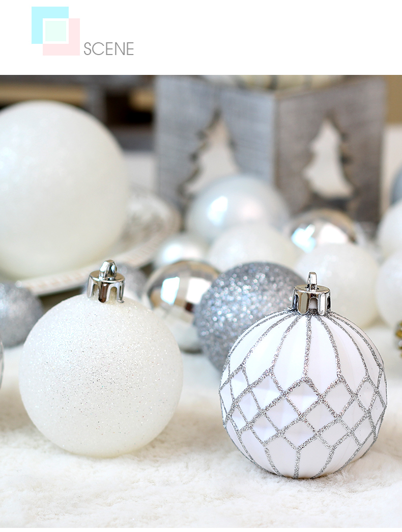 05 inhoo 50pcs Silver White Balls Christmas Decorations for home Christmas Tree Decor Craft Ball Ornaments Pendant Xmas Gifts 2019