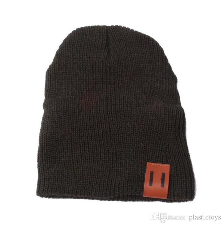 Sonbahar ve kış sıcak Çocuklar ve yetişkin moda yün örgü şapka iki dikey çıkartmalar set kafa kap ebeveyn çocuk yün kap