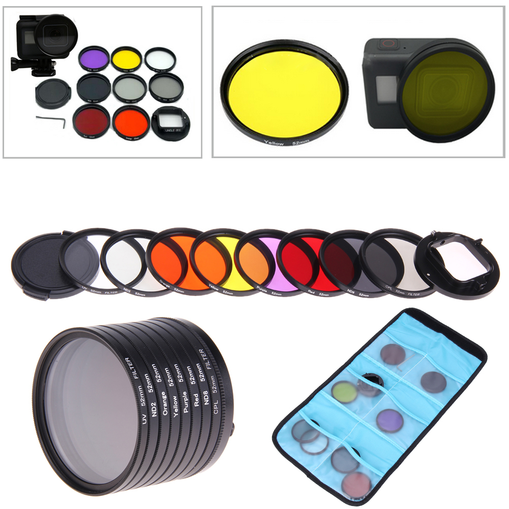 Camera Accessories For GoPro HERO5 HERO 5 52mm 8 in 1 Lens FilterCPL UV ND8 ND2 Star 8 Red Yellow FLD / Purple