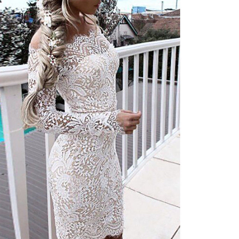 b8e20cb0a5874 2018 Fashion Women Ladies Elegant Long Sleeve Lace Floral Off Shoulder  Dress Bodycon Slim White Casual Party Mini Dress Vestdios D1891304 Black  Lace ...