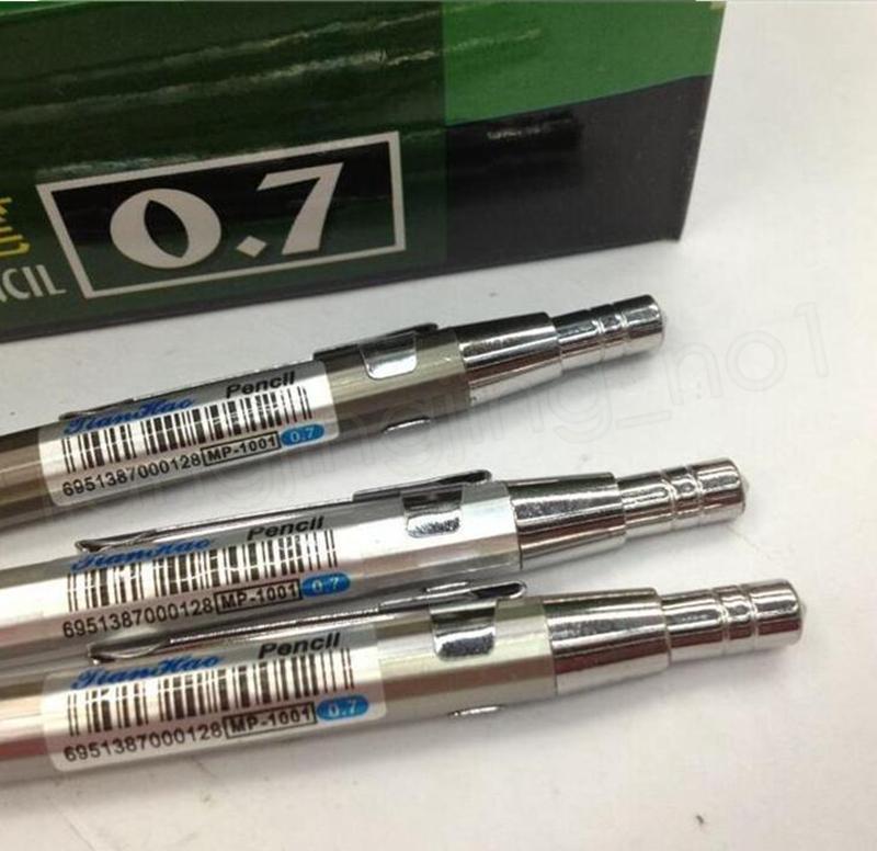 Lápis automático Empurre lápis de desenho único lápis 0.5mm / 0.7mm lápis de arte de metal Canetas de escrita Presente GGA1097